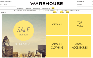 Preview 2 of the Warehouse website