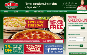 Preview 2 of the Papa Johns website