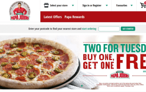 Preview 4 of the Papa Johns website