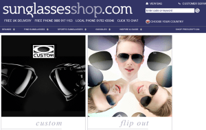Preview 2 of the Sunglasses Shop website