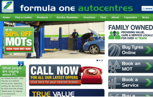 Preview 3 of the Formula One Autocentres website