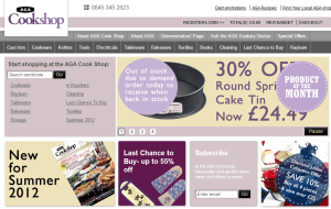 Preview 2 of the Aga Cookshop website