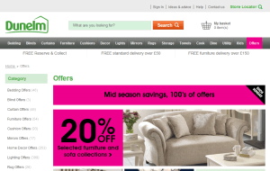 Preview 3 of the Dunelm website