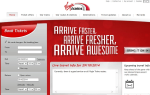 Preview 2 of the Virgin Trains website