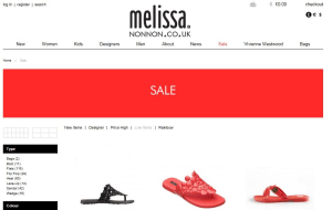 Preview 2 of the Melissa Shoes website