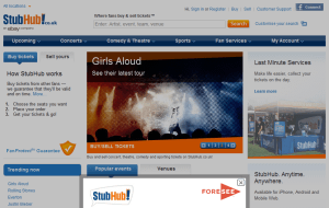Preview 2 of the StubHub website