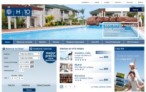 Preview 2 of the H10 Hotels website