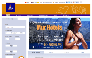 Preview 2 of the Mur Hotels website