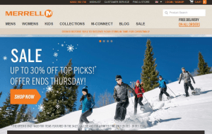 Preview 2 of the Merrell website