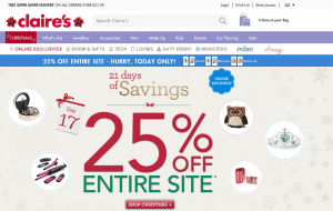 Preview 2 of the Claires website
