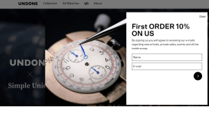 Preview 2 of the UNDONE Watches website