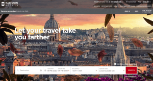 Preview 2 of the Radisson Hotels website