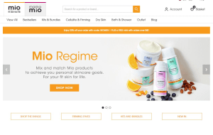 Preview 2 of the Mio Skincare website